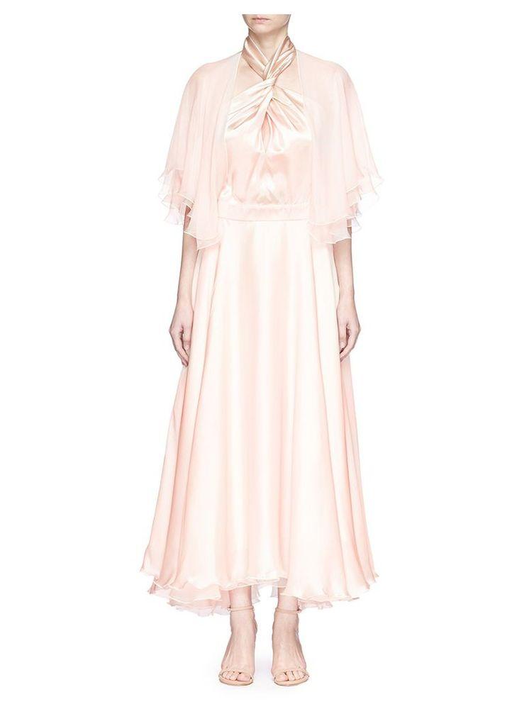 Twist halterneck chiffon sleeve silk satin dress