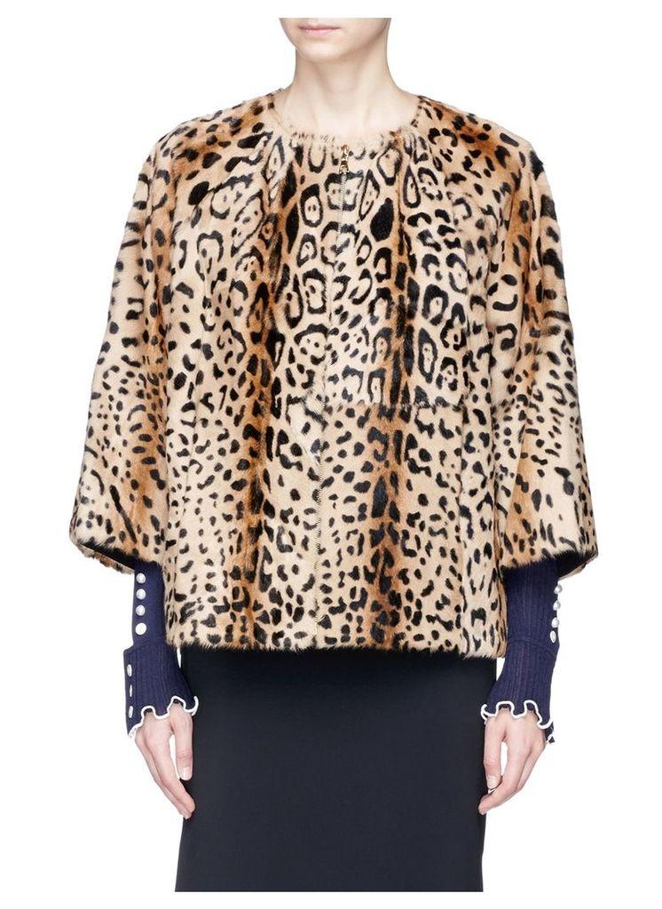 Leopard print cropped goat fur jacket