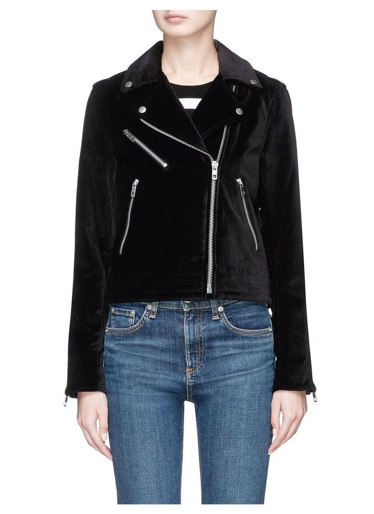 'Mercer' velvet biker jacket