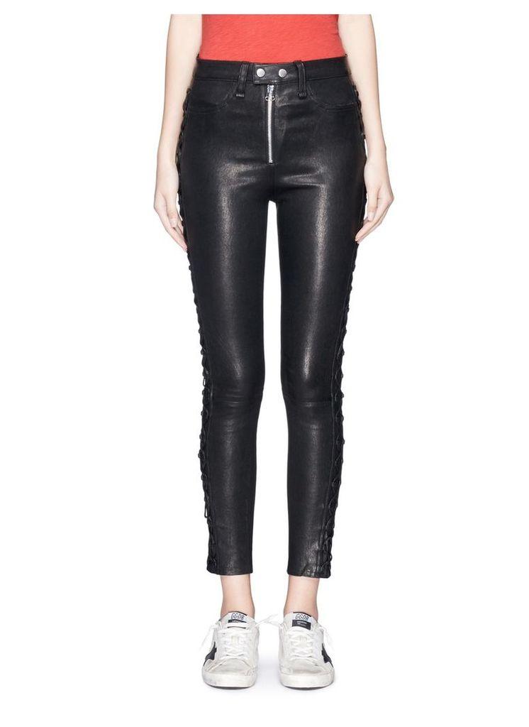 'Kiku' lace-up outseam lambskin leather pants