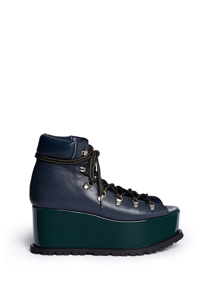 Open vamp patent leather platform mountain boots