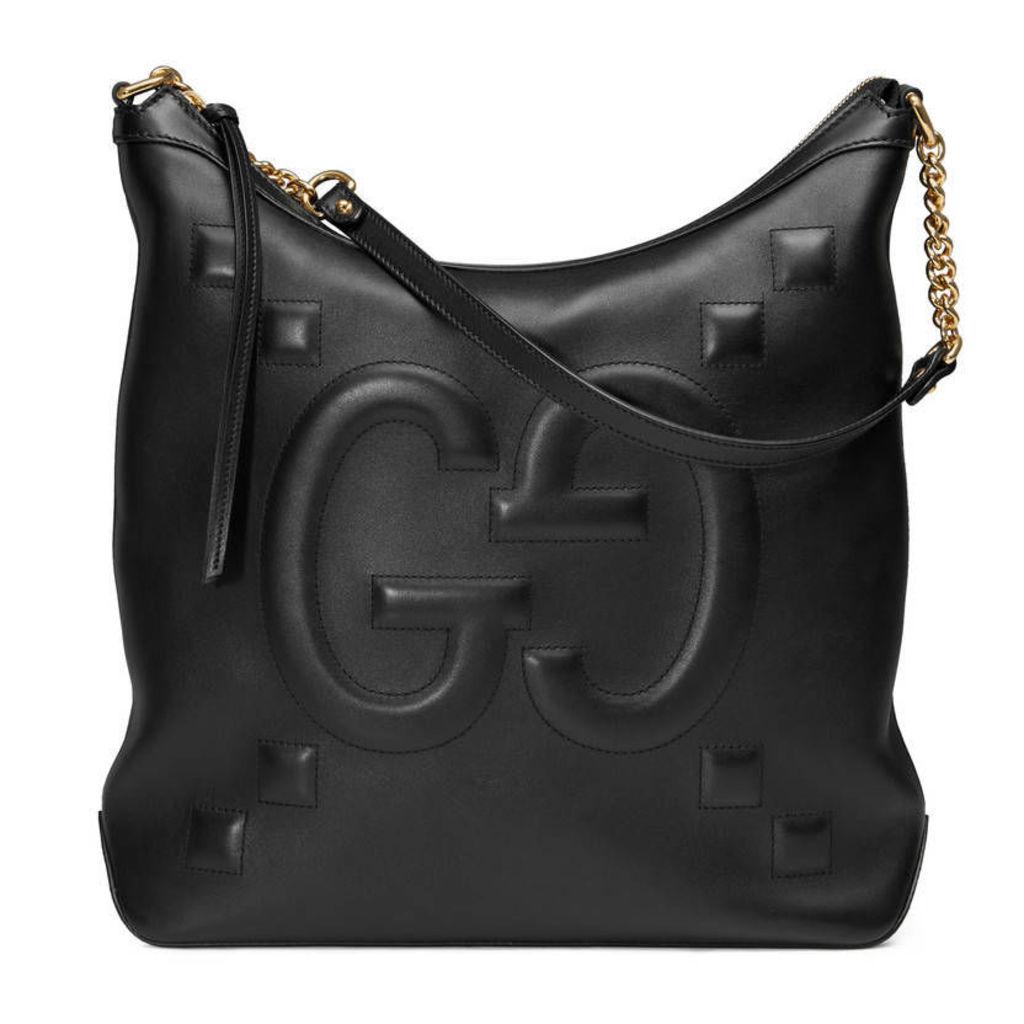 Embossed GG leather hobo