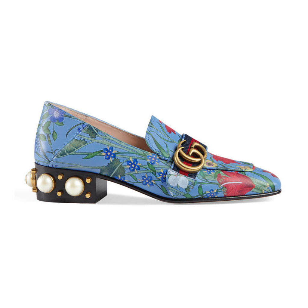 New Flora print leather mid-heel loafer