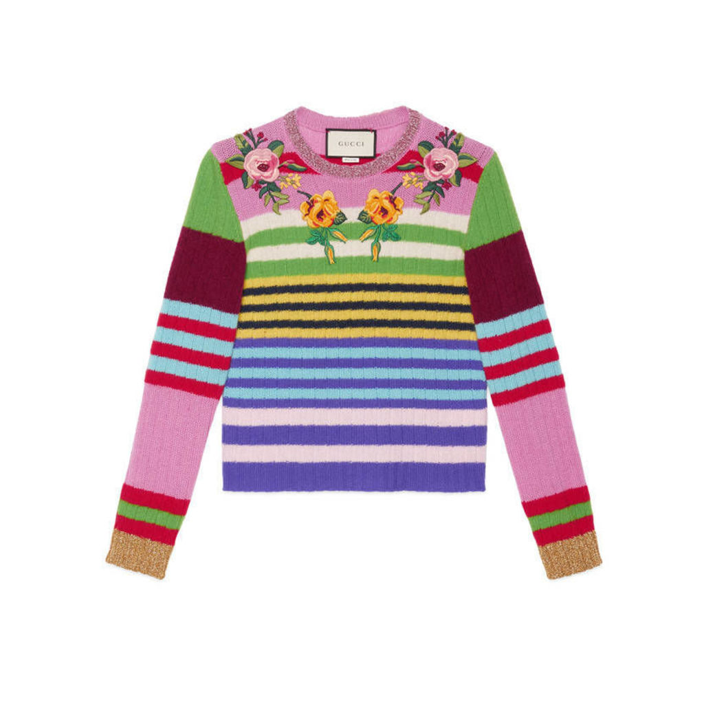 Embroidered multicolor knitted top