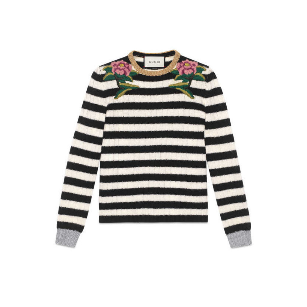 Embroidered merino cashmere knitted top