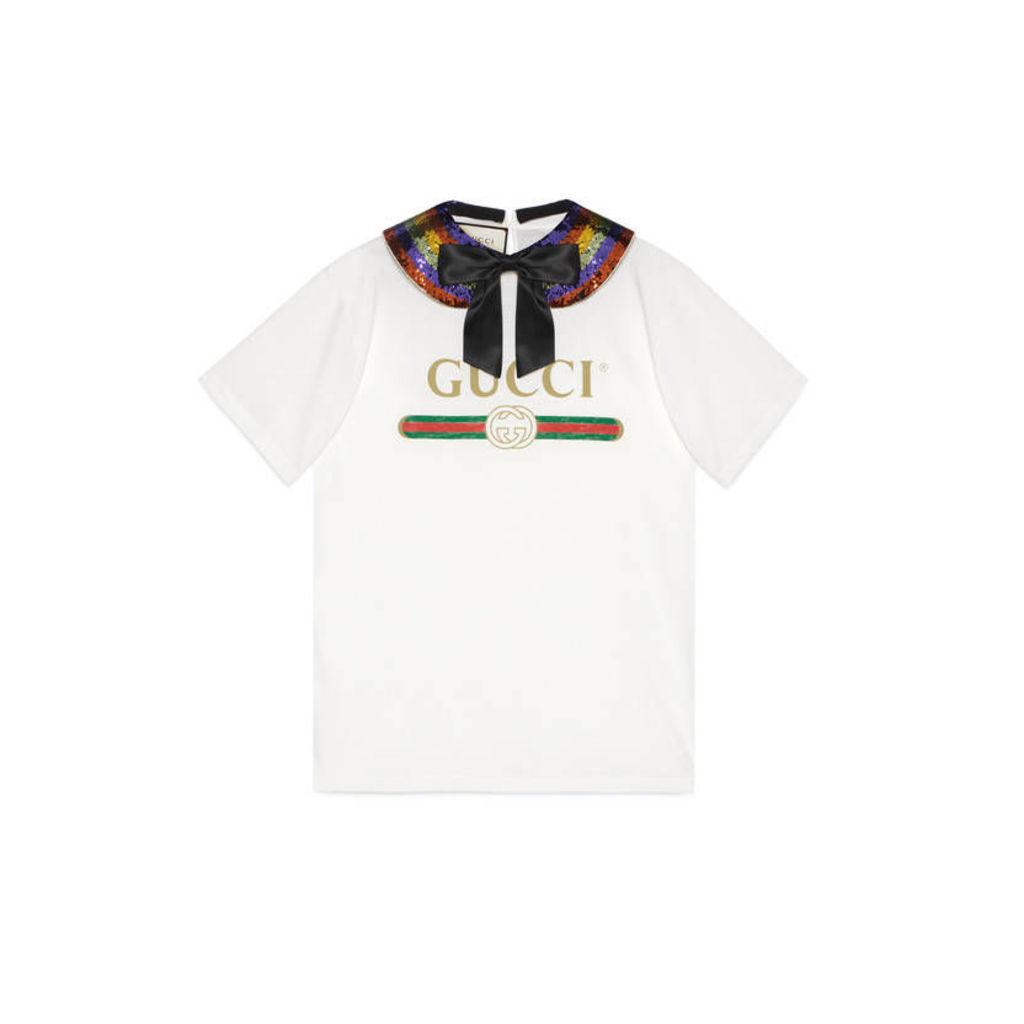 Gucci logo collared cotton T-shirt
