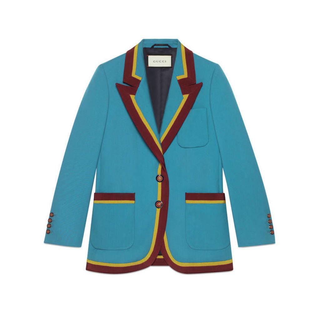 Wool jacket with ribbon trim