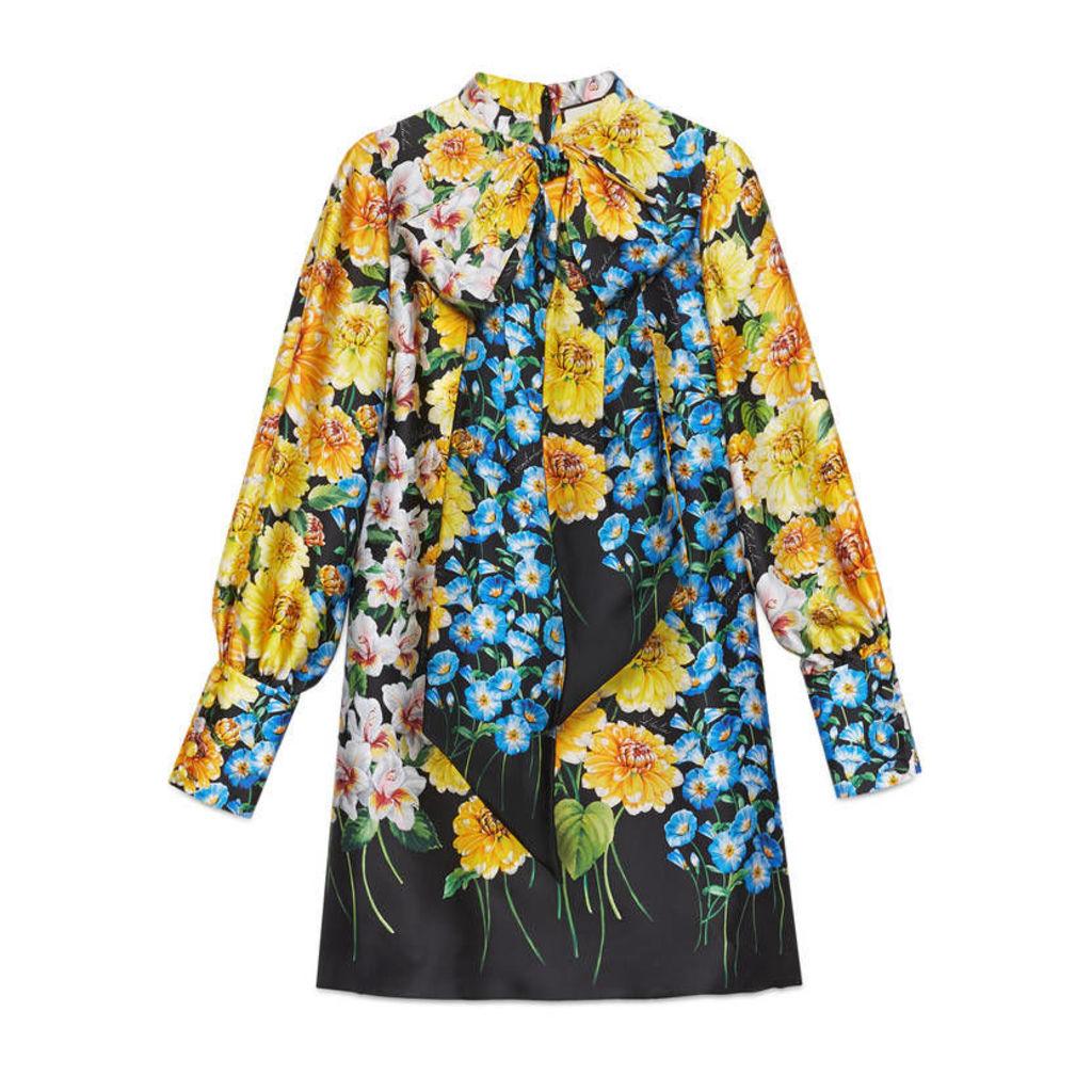 Florage print satin dress with bow