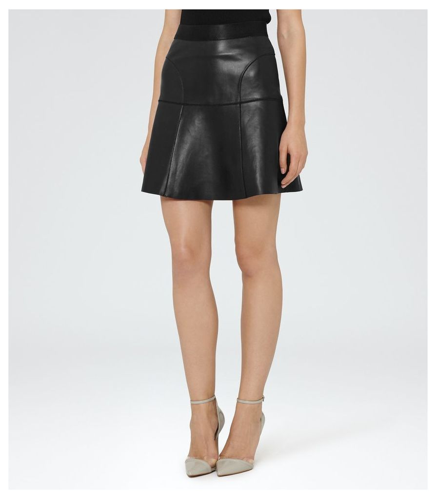 REISS Chiya - Leather A-line Skirt in Black, Womens, Size 4