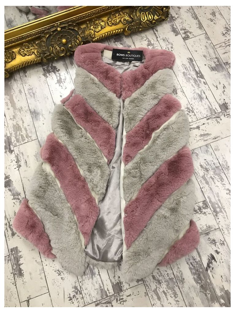 Jasmine Pink And Grey Panel Faux Fur Gilet