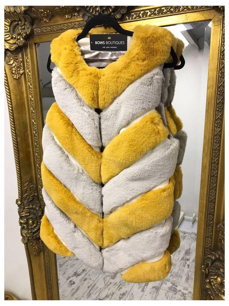 Jasmine Mustard And Grey Panel Faux Fur Gilet
