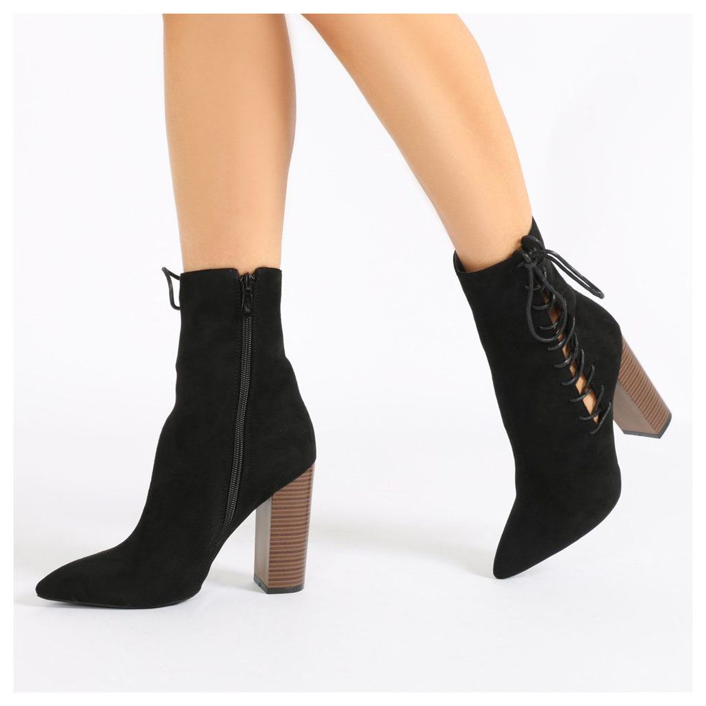 Emilia Lace Up Side Pointed Toe Ankle Boots  Faux Suede, Black