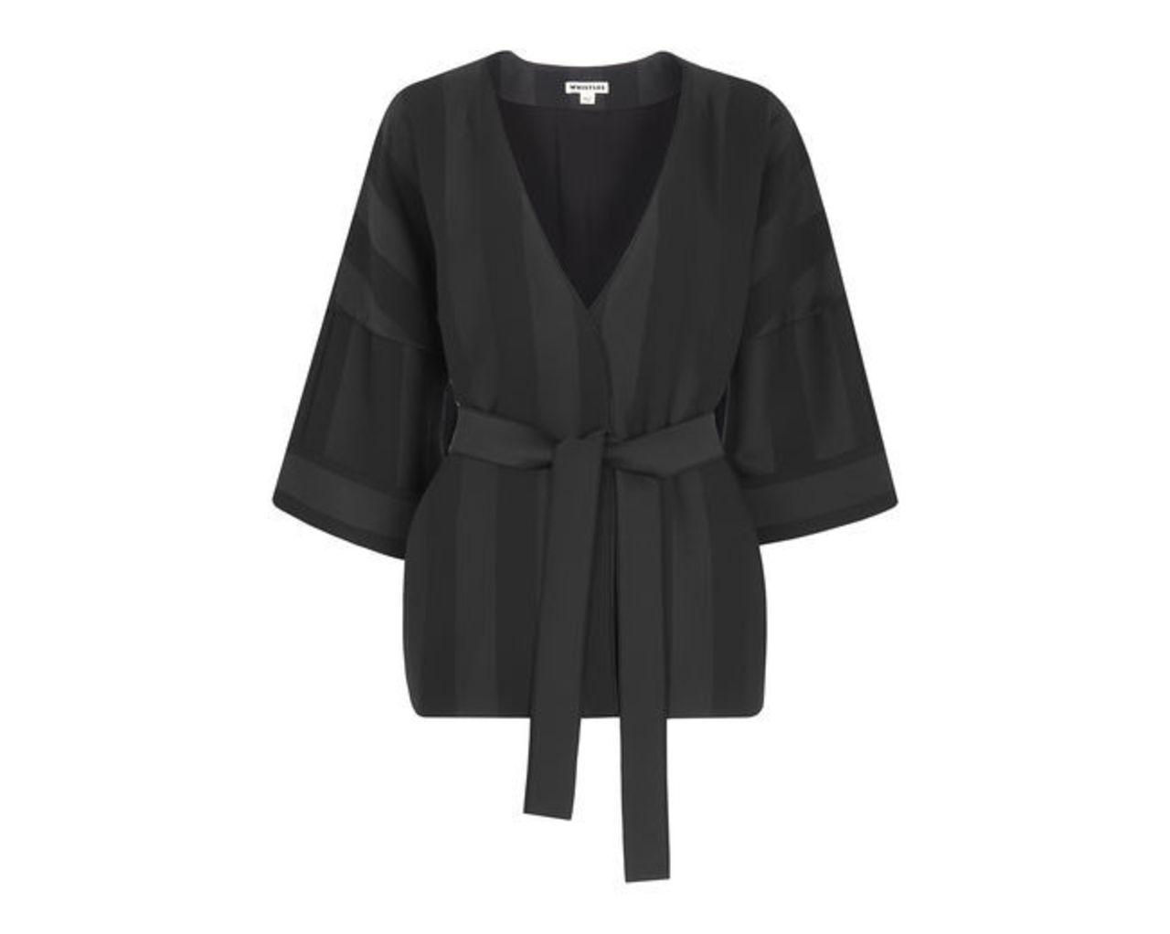 Satin Stripe Kimono Jacket