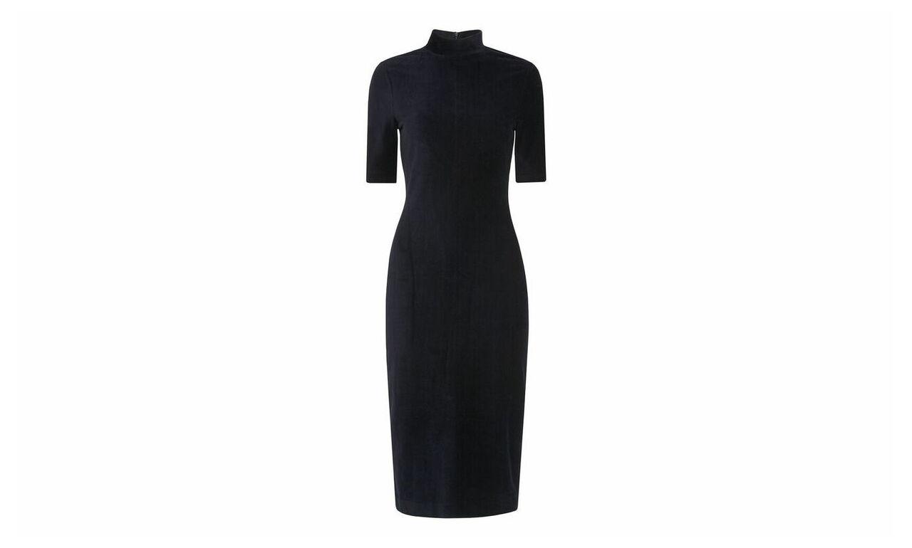 Velvet High Neck Jersey Dress
