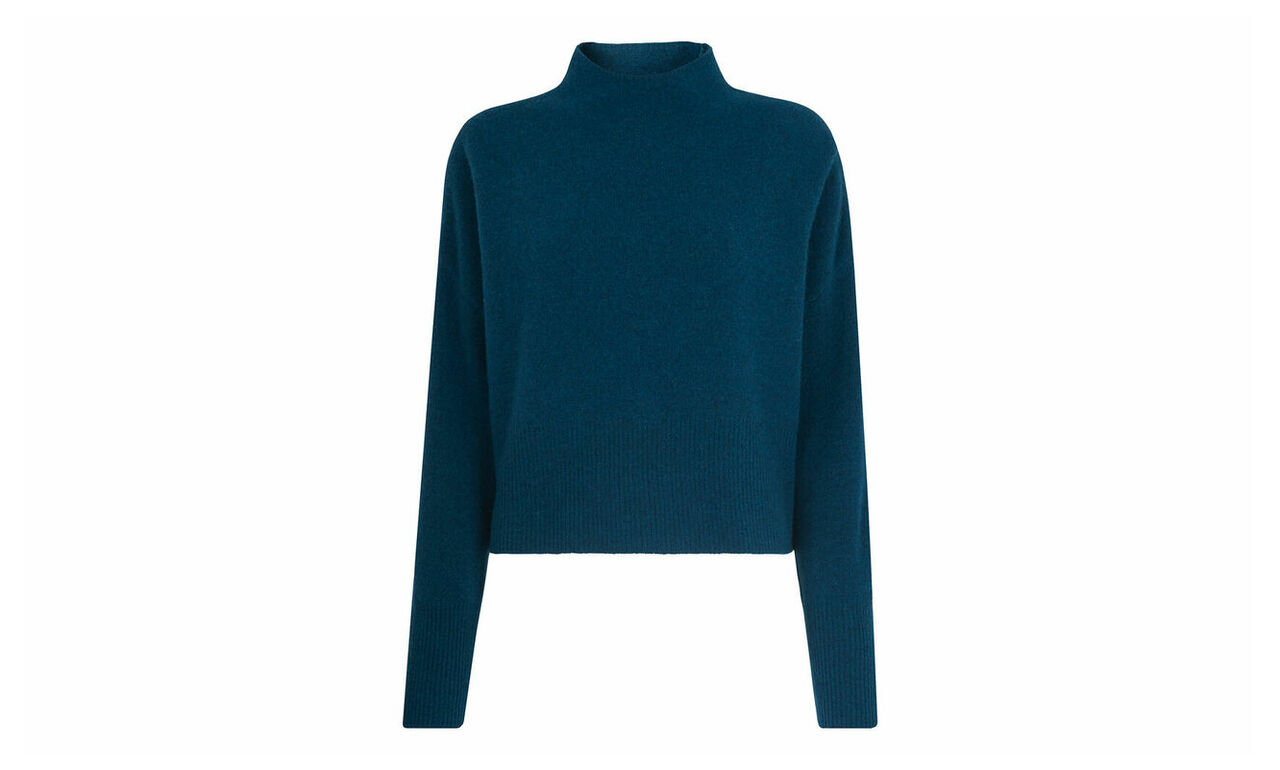 Cropped Funnel Neck Knit