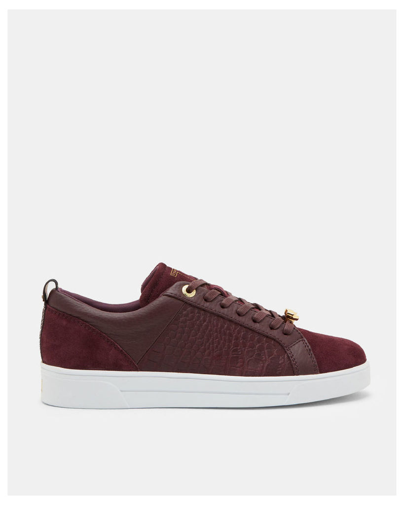 Ted Baker Contrast trim leather trainers Oxblood