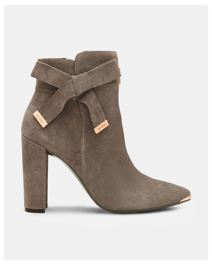 Ted Baker Bow detail suede ankle boots Grey