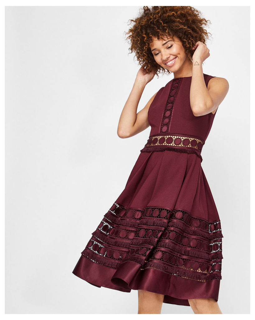 Ted Baker Lace detail textured dress Maroon
