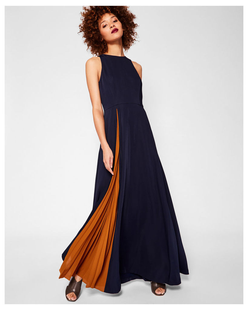Ted Baker Contrast pleat maxi dress Navy