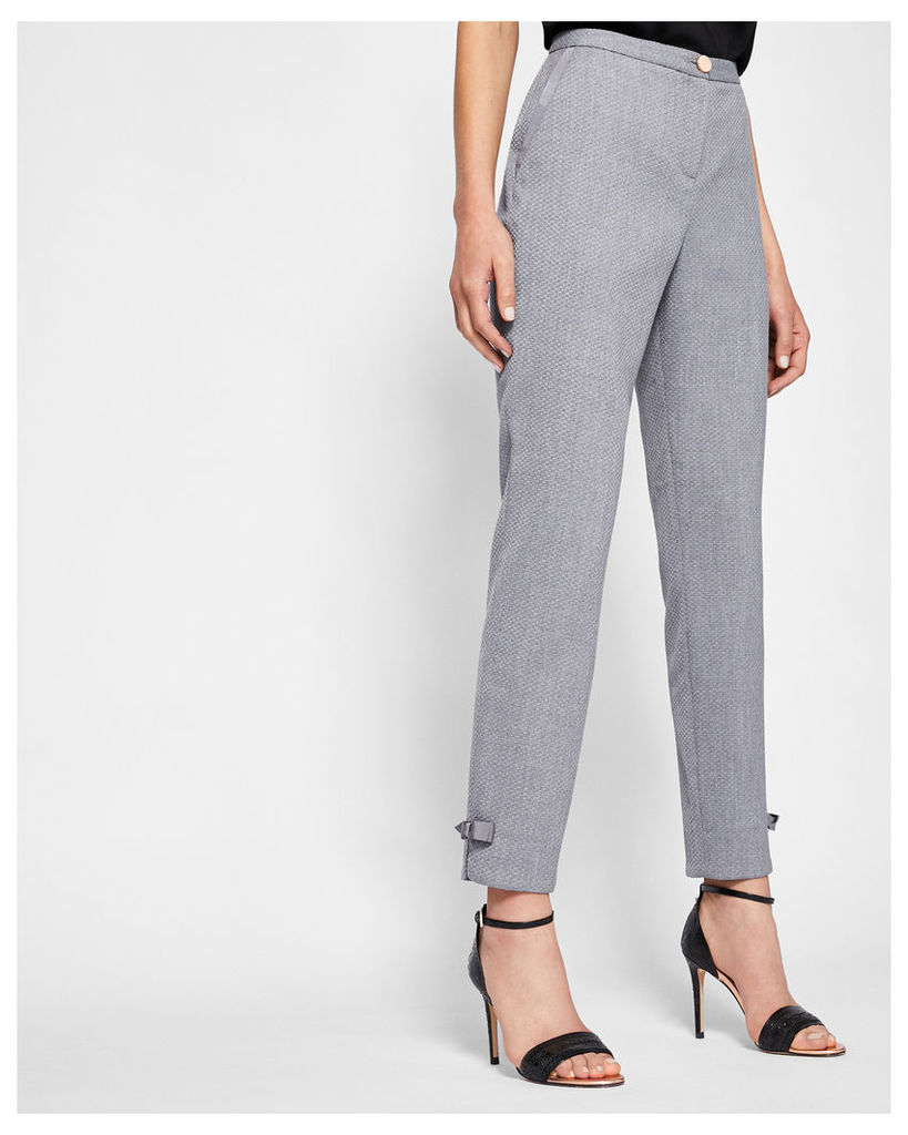 Ted Baker Bow detail textured trousers Mid Grey