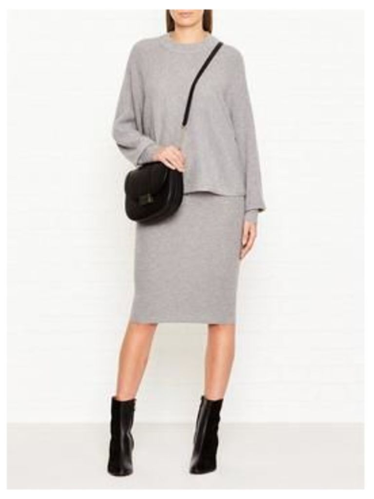 Whistles Cashmere Mix Knitted Pencil Skirt - Grey