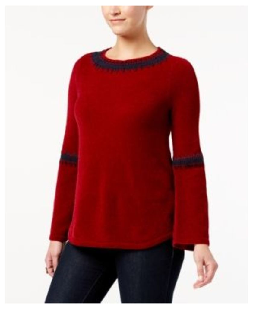 Style & Co Embroidered Chenille Sweater, Created for Macy's