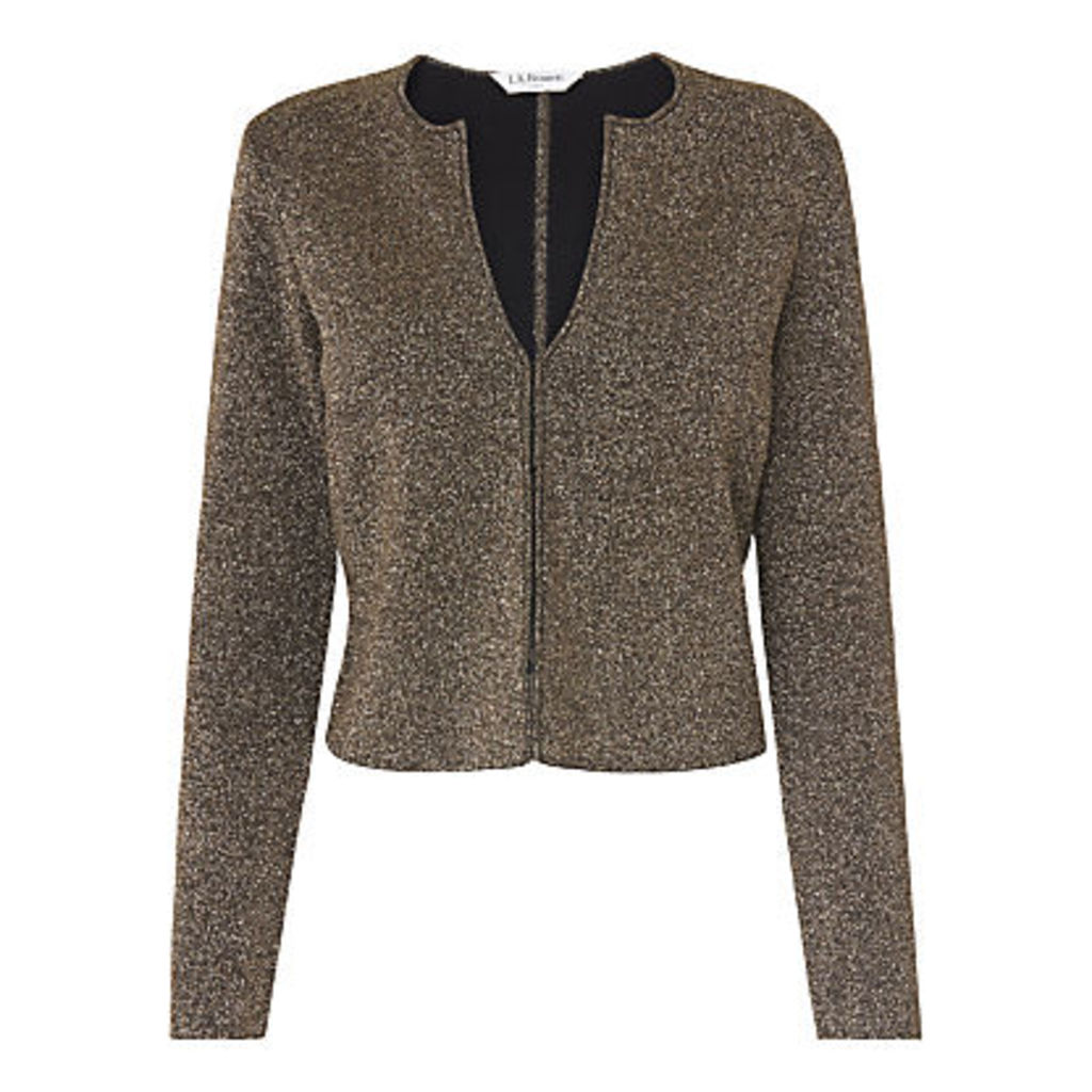 L.K. Bennett Sparkle Cardigan, Black/Gold