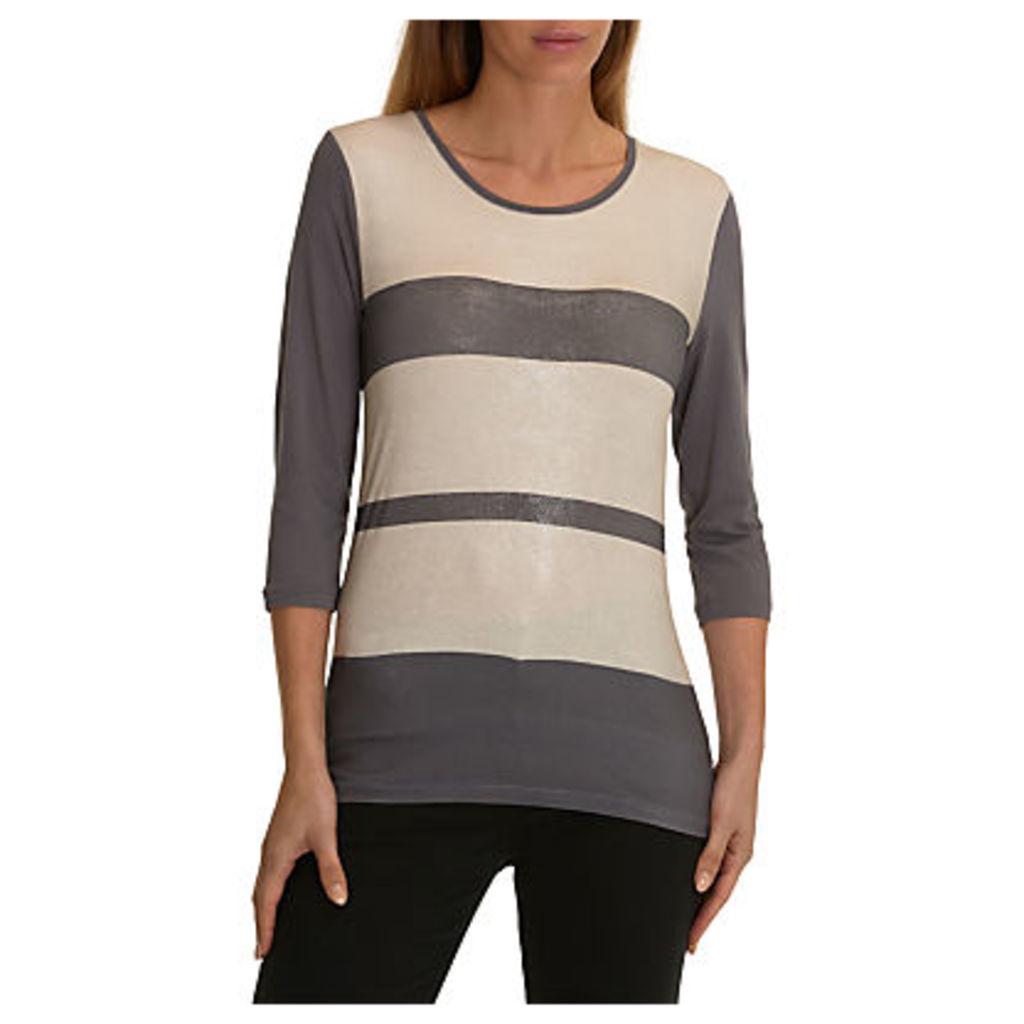Betty Barclay Shimmer Stripe Top, Grey/Beige