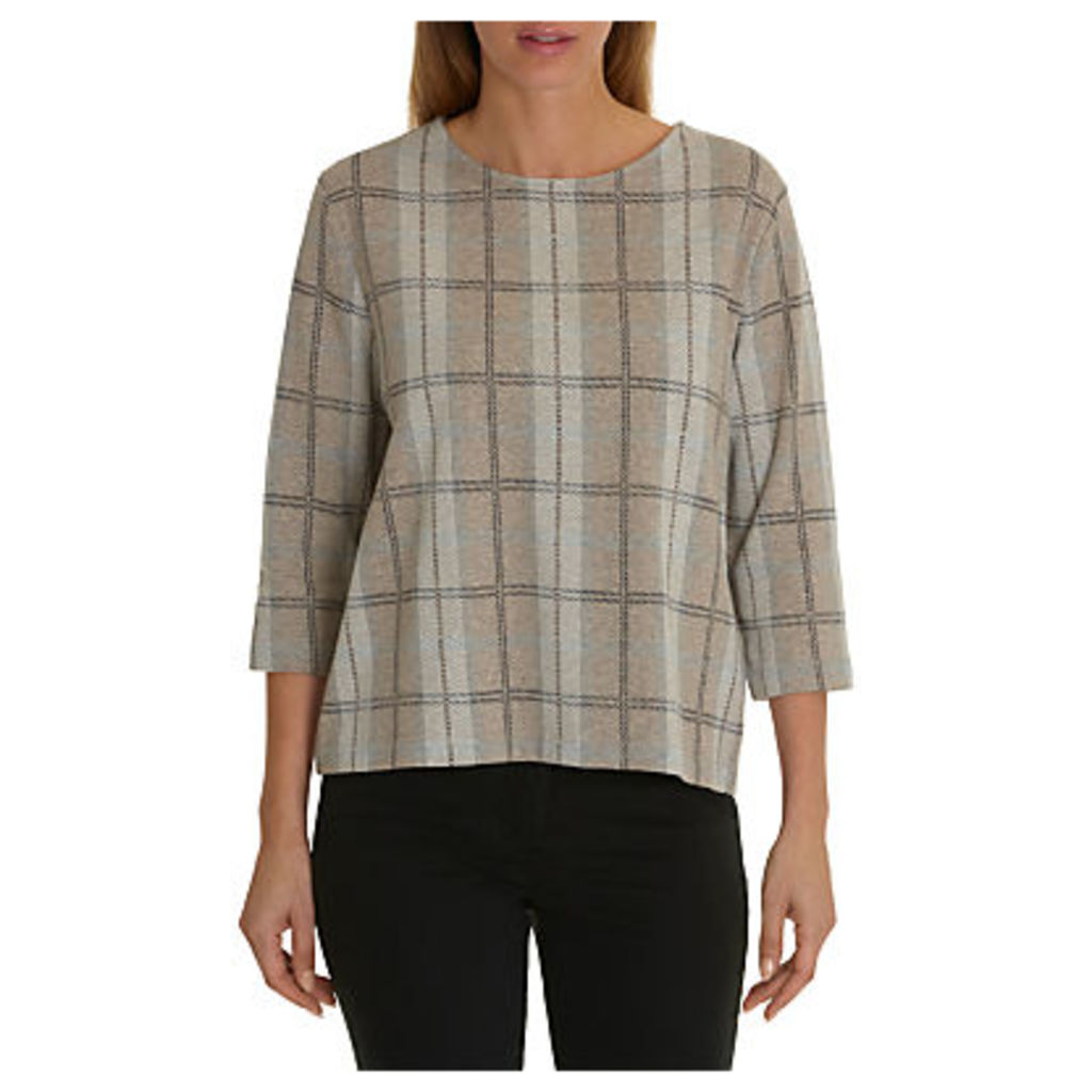 Betty Barclay Checked Top, Taupe/Grey