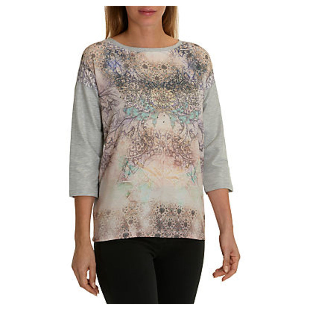 Betty Barclay Embellished Printed Top, Grey/Purple