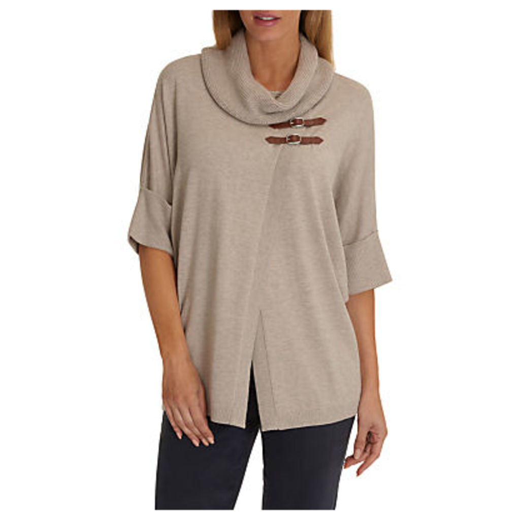 Betty Barclay Short Sleeved Wrapped Jumper, Taupe Melange
