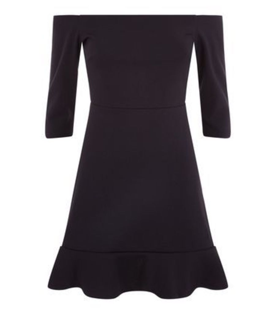 Black Bardot Neck Frill Hem Dress New Look