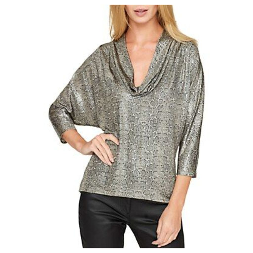 Damsel in a dress Liquid Python Top, Metallic