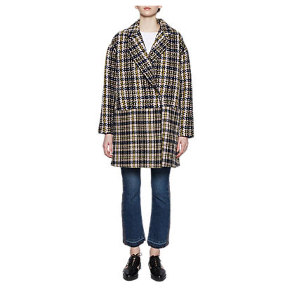 French Connection Belinda Wool Coat, Utility Blue/Multi