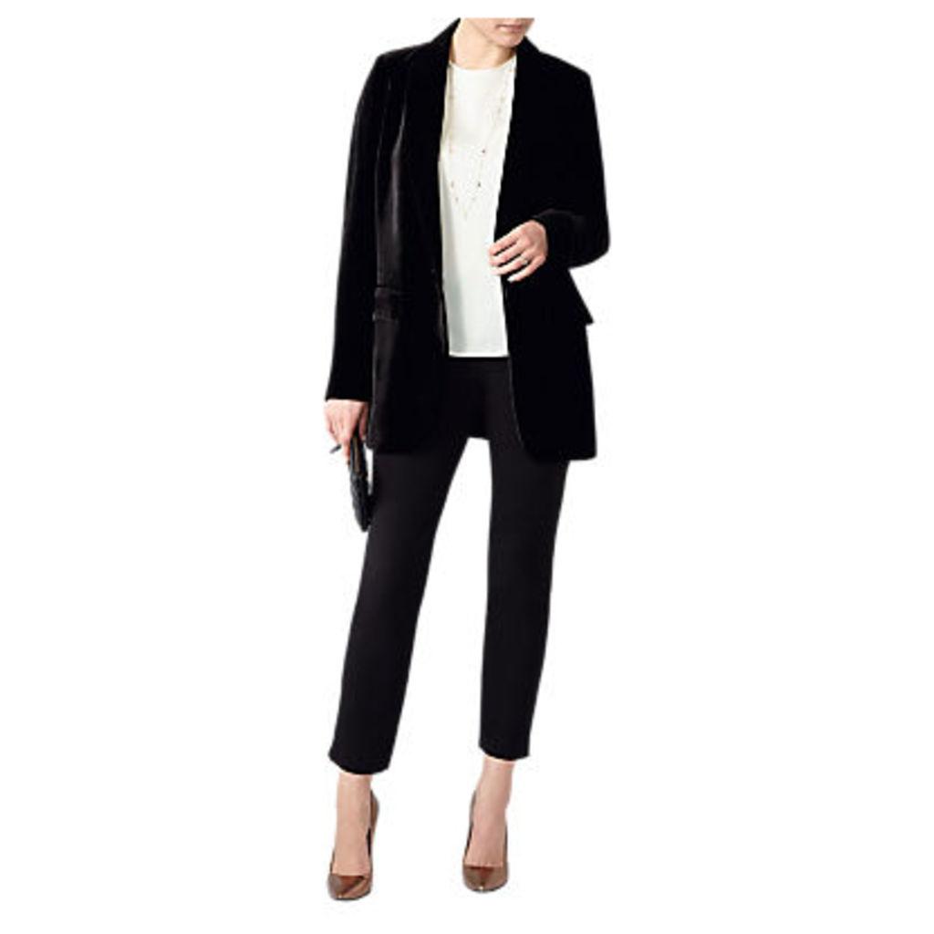 Pure Collection Relaxed Silk Blend Velvet Blazer, Black