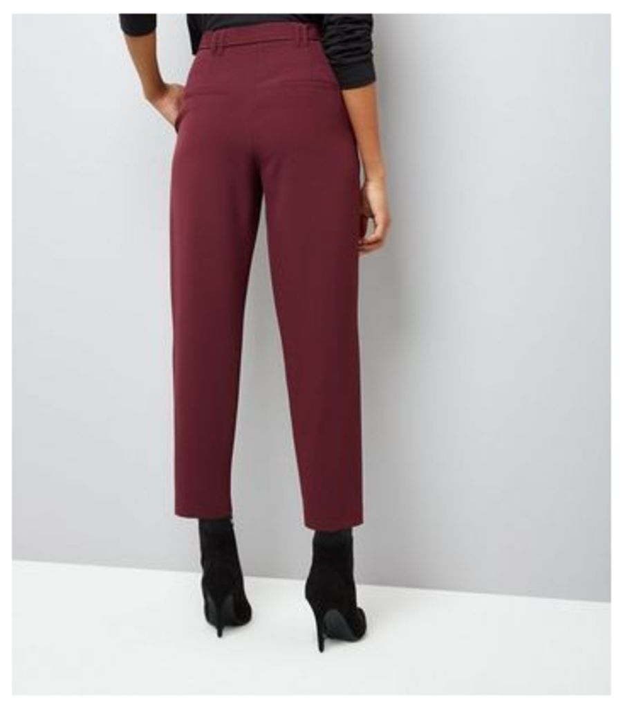 Burgundy Tie Waist Trousers New Look