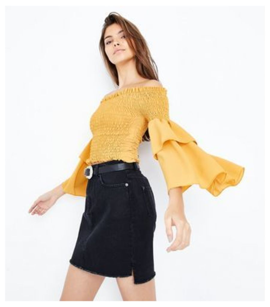 Cameo Rose Yellow Shirred Sleeve Bardot Top New Look