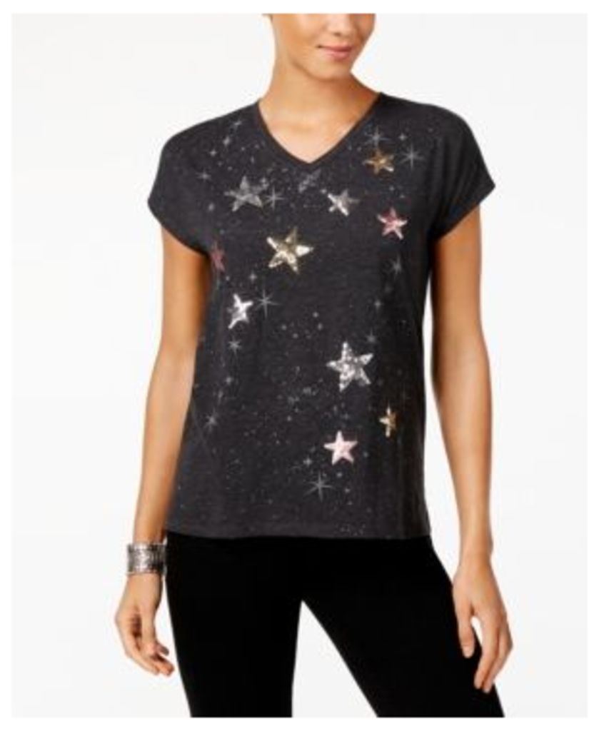 Style & Co Embellished Star-Print T-Shirt, Created for Macy's