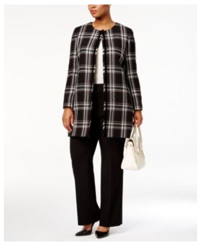 Tahari Asl Plus Size Collarless Plaid Fringe Jacket