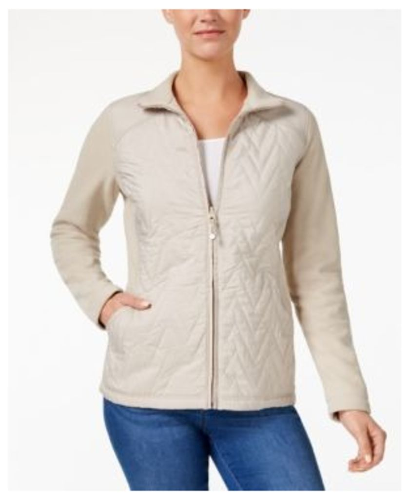 Style & Co Quilted Fleece-Contrast Jacket, Created for Macy's