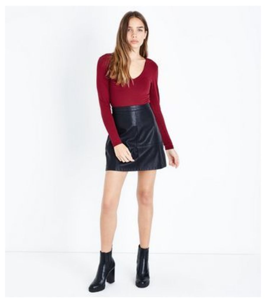 Burgundy V Neck Bodysuit New Look