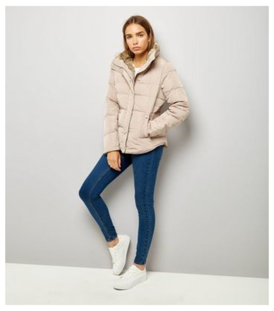 Mink Faux Fur Trim Padded Puffer Jacket New Look