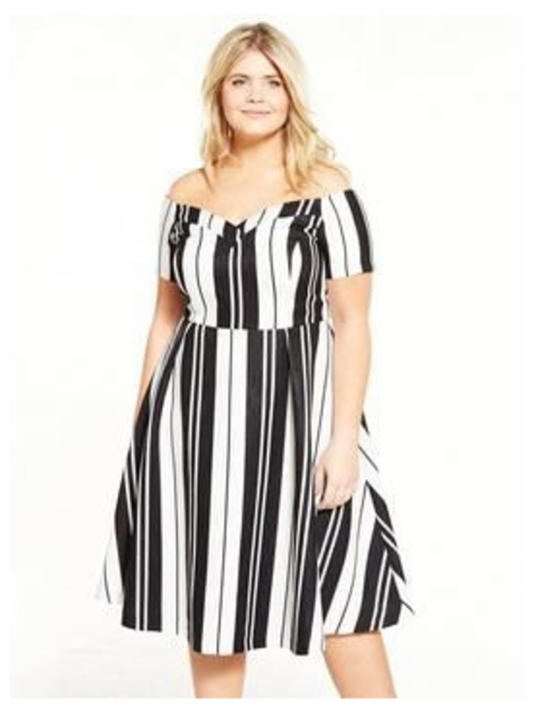 Lovedrobe Monochrome Stripe Bardot Dress