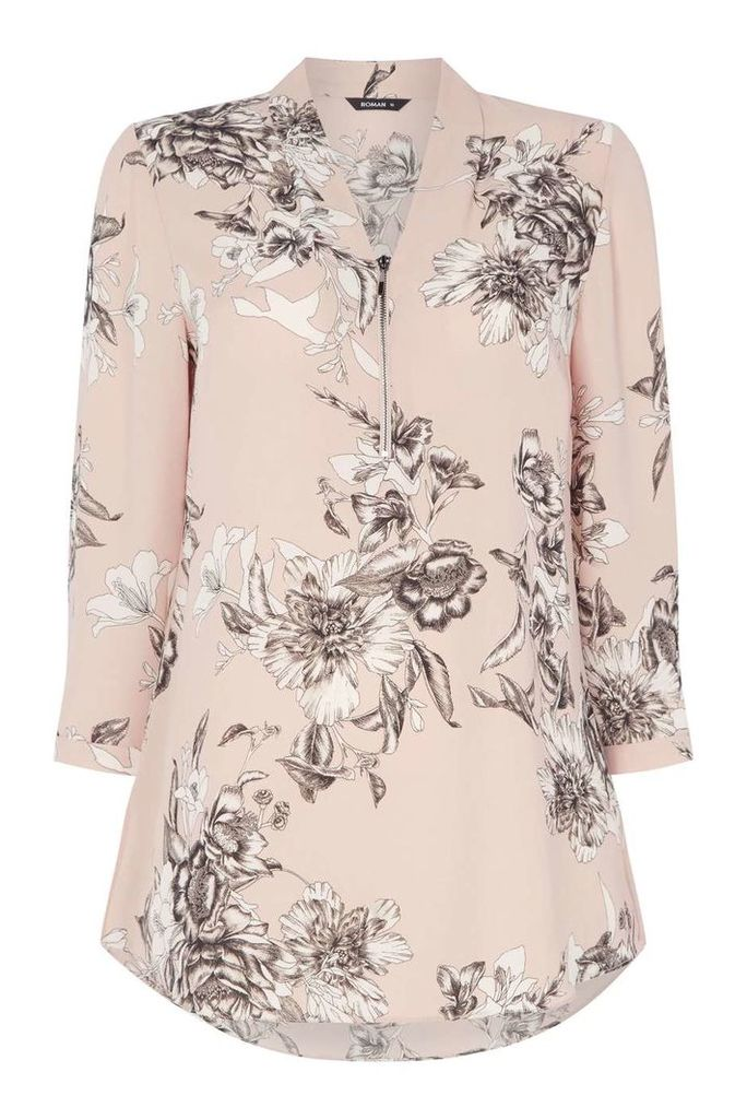 Womens *Roman Originals Light Pink Floral Zip Top- Pink