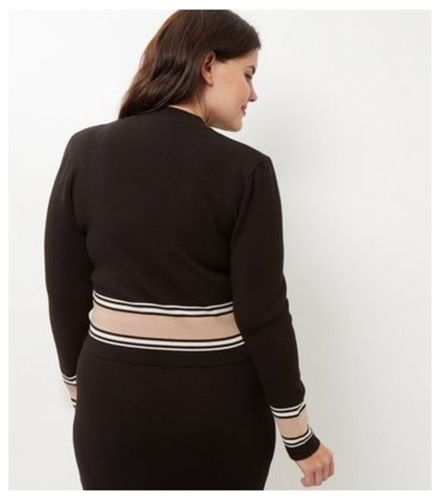 Curves Black Stripe Trim Long Sleeve Top New Look