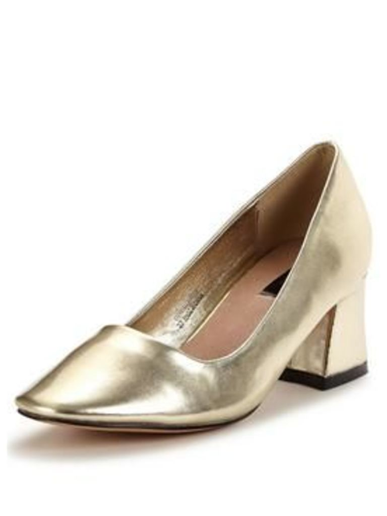 Lost Ink Demi Low Block Heel Court, Gold, Size 7, Women