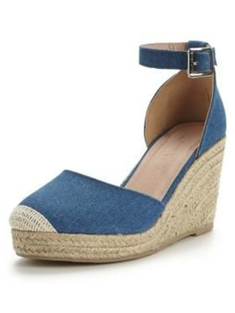 V by Very Polly Two Part Espadrille Wedge, Denim Blue, Size 7, Women
