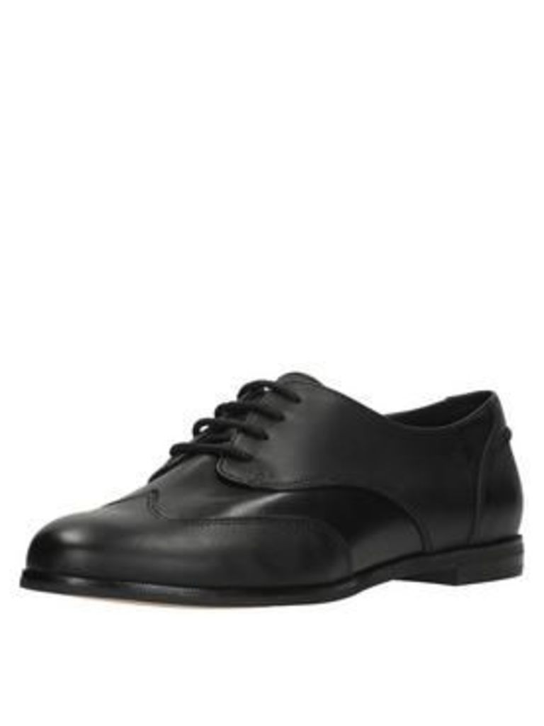 Clarks Andora Trick Brogue, Black Leather, Size 4, Women