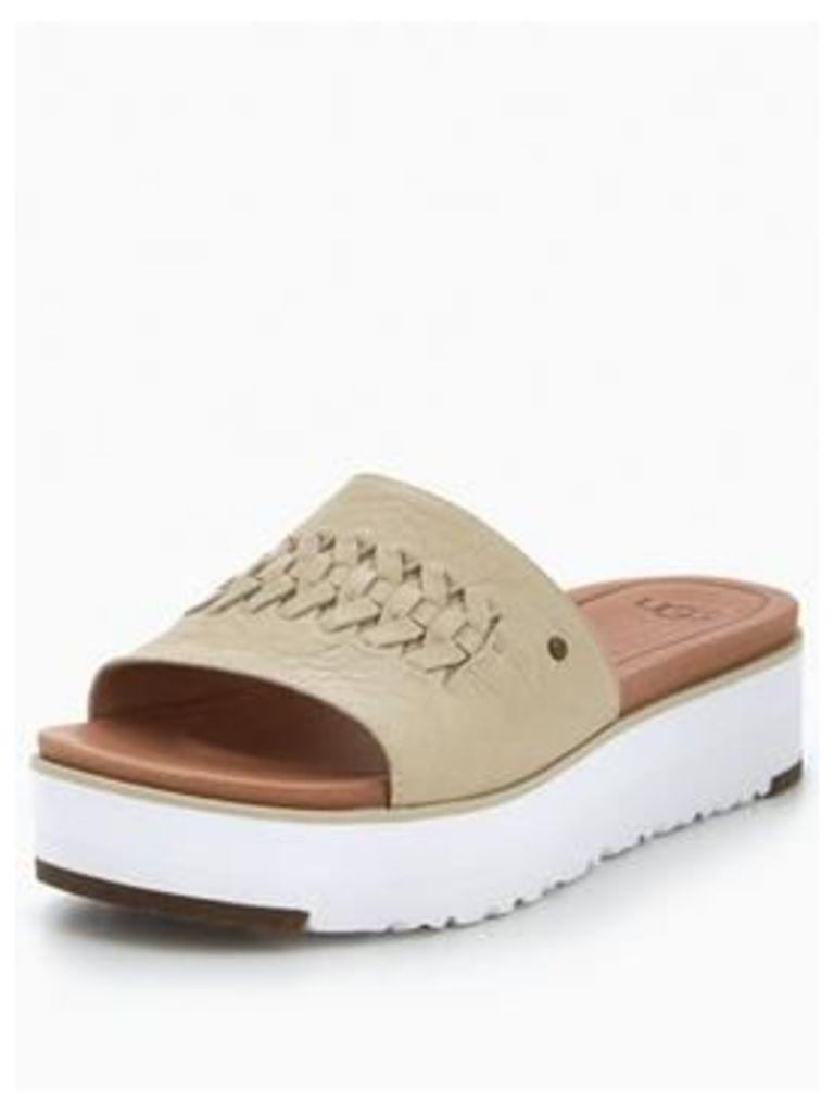 UGG Delaney flatform slp on sandal, Canvas, Size 7, Women