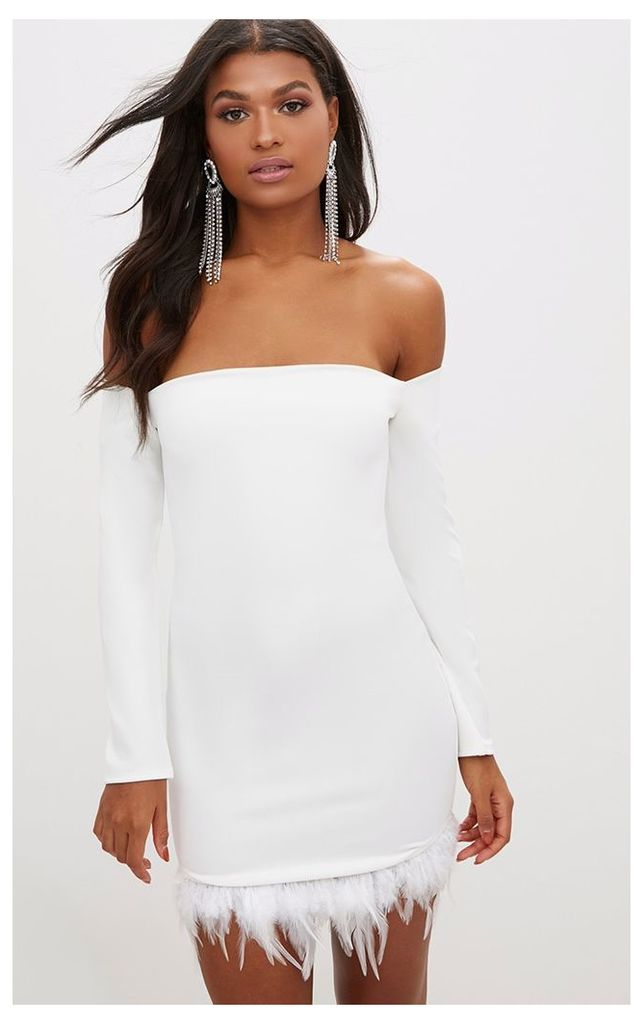 White Feather Trim Bardot Bodycon Dress